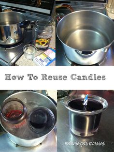 to reuse candles to get your favorite scents to last even longer!How to reuse candles to get your favorite scents to last even longer! Reuse Candle Jars, Candle Containers, Candle Wax, Cleaning Candle Jars, Soy Candle Making, Making Candles, Diy Candles Using Old Candles, Scented Candles, Pillar Candles