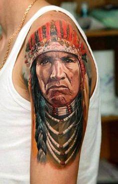 Indian Tattoo Portrait Arm #Tattoo, #Tattooed, #Tattoos