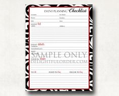 Party Planner Checklist Organizer X By Embellishedesigns