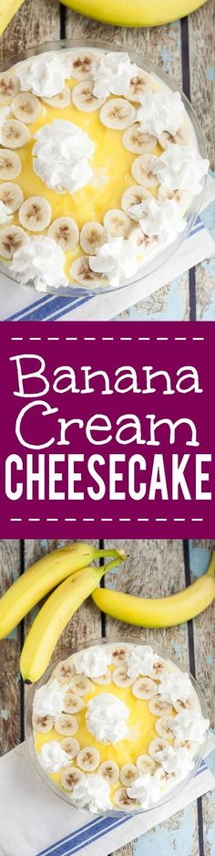 Banana Cream Cheesecake pie Recipe - This Banana Cream Cheesecake recipe is a creamy, sweet no bake twist on a classic banana cream pie with layers of pudding, ripe bananas, and cheesecake, all in a graham cracker crust.  Banana cream pie and cheesecake in one easy dessert?! To die for!