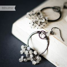 Oxidized Sterling Silver Moonstone Ring Necklace