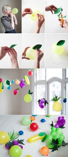 DIY fruit balloons look so 'berry' fun! Fun for a kids party! Diy And Crafts, Crafts For Kids, Party Crafts, Kids Diy, Fruit Decorations, Balloon Decorations, Fruit Party, Fun Fruit, Fruit Of The Spirit