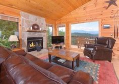 The excellent living room in a cabin in Gatlinburg TN