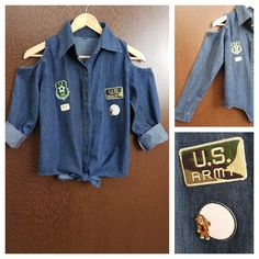 Hurry before stock runs out: Patched - Denim C..., visit http://ftfy.bargains/products/patched-denim-cold-shoulder-shirt-with-front-knot-u-s-army-monkey-thoughts?utm_campaign=social_autopilot&utm_source=pin&utm_medium=pin  #amazing #affordable #fashion #stylish