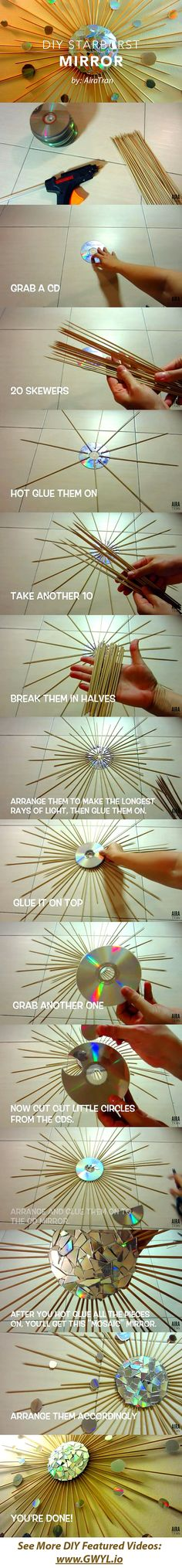 Do you have old CD's laying around your house? Why not turn them into a pretty home decor instead. See video and full written instructions here==>  | DIY Starburst Mirror | http://gwyl.io/diy-starburst-mirror/