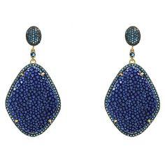 Stingray Diamond Earring Royal Blue