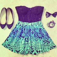 teen fashion | Tumblr. Short lace and Aztec print dress, flats, a bow and the necessary jewelry