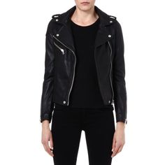 MAJE Madone leather moto jacket (28.250 UYU) ❤ liked on Polyvore featuring outerwear, jackets, noir, motorcycle jacket, collar leather jacket, real leather jacket, zipper jacket and biker jacket