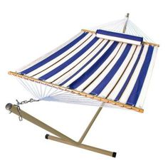 Algoma 11 Ft Fabric Hammock And 12 Ft Steel Stand With Matching Pillow 6290w98spb Hammock Stand Hammock Double Hammock With Stand