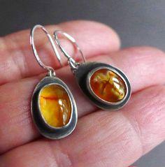 Jerusalem Cross Stone Earrings Amber Cross Agate Earrings