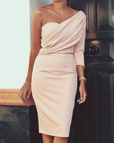Evening dresses - Solid One Sleeve Ruched Bodycon Dress – Evening dresses Elegant Dresses, Pretty Dresses, Beautiful Dresses, Formal Dresses, Classy Dresses For Women, Bodycon Dress Formal, Long Dresses, Dress Outfits, Fashion Dresses