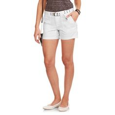 Faded Glory Women's 4.5 inch Fatigue Belted Twill Shorts, Size: 14, White