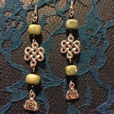 Green Stones and Buddha charm dangle earrings by CaraNerdJoy