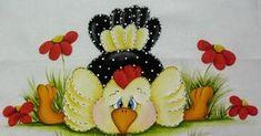 http://nilzozo.blogspot.com.br Pintura em tecido - Pintura estilo folk de galinha esparramada no chão. Não houve a plicação de fund...