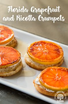 Enjoy our Florida Grapefruit and Ricotta Crumpets for a sweet treat with your afternoon tea.