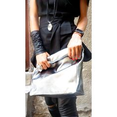 New LIMITED EDITION Genuine Leather Silver Hand Bag High Quality... (320 BGN) via Polyvore featuring bags, handbags, silver purse, leather man bag, handbags & purses, leather purse and white leather handbags