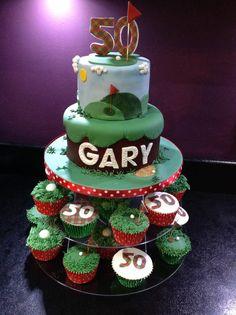 Golf cake, golf cupcakes, 50th birthday cake ( not my design I've seen similar ones on Pinterest )
