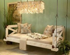 Low Country Bed Swing with Sides from Cottage & Bungalow. Designer quality furniture with a price match guarantee. Click now to learn more. Porch Bed, Porch Swings, Swings For Sale, Pallet Swing Beds, Diy Swing, Rope Swing, Pergola Swing, Country Bedding, Appartement Design