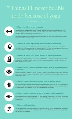 7 Things I'll Never Be Able to Do Because of Yoga by bullcityyoga #Infographic #Yoga