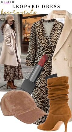 how to style leopard dress, slouchy boots, baseball cap for winter brunch