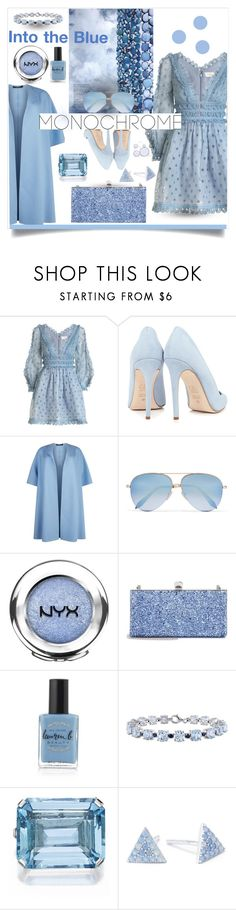 """Monochrome: Into the Blue"" by mponte ❤ liked on Polyvore featuring Zimmermann, Dee Keller, Marina Rinaldi, Victoria Beckham, NYX, Jimmy Choo, Lauren B. Beauty, Miadora, Belk Silverworks and Interlude"