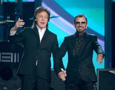 Paul McCartney and Ringo Starr onstage on the 56th Annual GRAMMY Awards on 26 January 2014 in Los Angeles