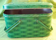 Vintage Green Basket-Weave Decorated Picnic Tin.