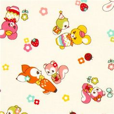white kawaii fabric fawn by Cosmo from Japan