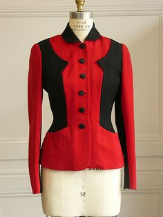 Amazing tailored 1940s/1950s blazer in red and black.