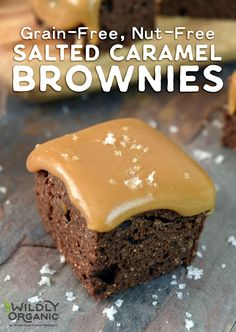 Grain-Free, Nut-Free Salted Caramel Brownies | Trade in your go-to brownie recipe for these decadent Grain-Free, Nut-Free Salted Caramel Brownies! They're allergy-friendly and oh-so rich and decadent! A simple caramel sauce (that can be made in advance) and a sprinkle of Wildly Organic's Fleur de Sel tops fudge-y brownies made with our signature coconut syrup, coconut flour, and cacao butter. | WildlyOrganic.com