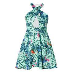 Mara Hoffman Cross Front Mini Dress (£70) ❤ liked on Polyvore featuring dresses, mara hoffman, short pleated dress, green pleated dress, cross over dress and mara hoffman dress