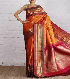 Orange And Pink Kanjivaram Silk Saree With Zari Work