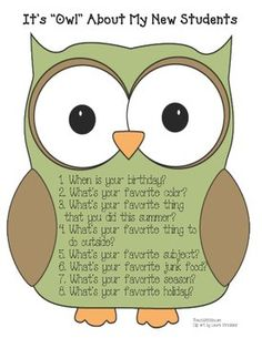 "This is a large question owl that you can put in the center of your bulletin board, with the ""It's 'owl' about me"" icebreaker owls that I just pinned. FREE printable"