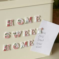 Magnetic Letters-Home Sweet Home-Patchwork Country Kitchen Accessories, Retro Fridge, Red Cottage, Cottage Chic, Magnetic Letters, Shabby Chic Farmhouse, Tumblr, Hanging Hearts, Puzzle Pieces