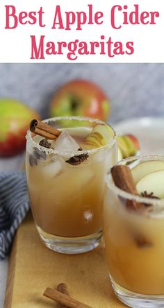 Welcome fall with the Best Apple Cider Margaritas. These combine tequila, triple sec, fresh lime juice, with apple cider, and take just 10 minutes to prepare. Garnish them with apple slices, cinnamon sticks, and star anise for a wow presentation! | suebeehomemaker.com | #applecidermargaritas #applemargaritas