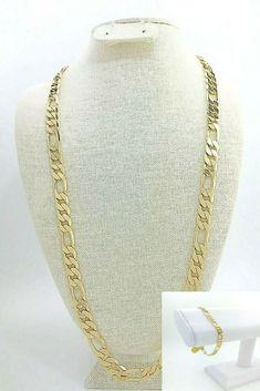 "mens 12mm Figaro chain 24"" necklace 9"" bracelet set 14k gold plated #Unbranded #Chain Men's Jewelry, Jewelry Sets, Bracelets For Men, Link Bracelets, Hip Hop Chains, Silver Chains, Chain Necklaces, Bracelet Set, Diamond Cuts"