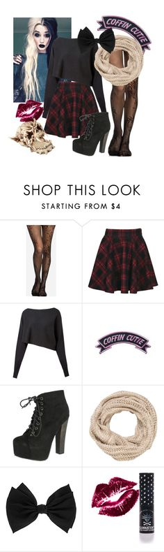 """""""coffin cutie"""" by daddys-little-satanist ❤ liked on Polyvore featuring Boohoo, Crea Concept, Cutie, Breckelle's, maurices, Dorothy Perkins and Manic Panic"""