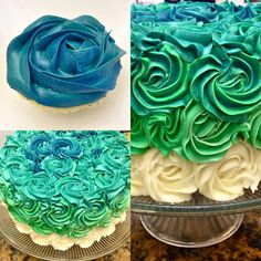 Blues and Greens Ombre Cake