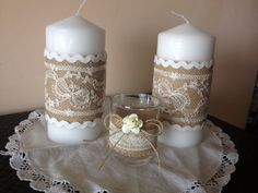 Lace and burlap candle decorations