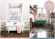 Baños estilo shabby-chic. Diseño interiores. Más en www.ochik.com