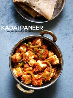 kadai paneer recipe with video and step by step photos - restaurant style delicious semi dry curry made with paneer, capsicum and indian spices. the flavors of this restaurant style kadai paneer recipe comes from freshly pounded coriander Paratha Recipes, Paneer Recipes, Curry Recipes, Tofu Recipes, Oats Recipes, Dry Paneer Recipe, Steak Recipes, Pizza Recipes, Casserole Recipes