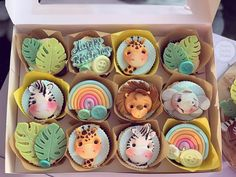 Baby Boy Cupcakes, Baby First Birthday Cake, Cupcakes For Boys, Baby Cupcake, Cupcake Cake Designs, Cupcake Cakes, Cupcake Ideas, Jungle Cake, Baby Shower Cakes