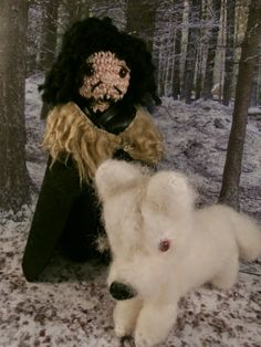 Jon Snow and Ghost (Game of thrones) amigurumi- Moñacos, cosicas y meriendacenas