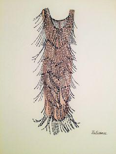 ORIGINAL Fashion Illustration-Beige Dress by loveillustration