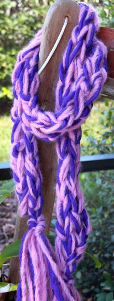NEW Bulky Hand Knit Purple and Pink Scarf  of Super by bpenatzer, $74.00