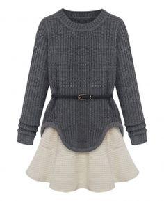Asymmetric-hem Belted Jumper & Flounced Natural-waist Skirt