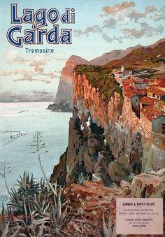 TX254 Vintage 1920 s Italy Lake Lago de Garda Italian Travel Poster A1/A2/A3/A4