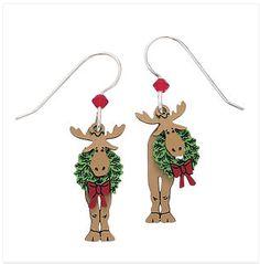 Handcrafted Holiday Moose Earrings Sterling Hooks $34.98