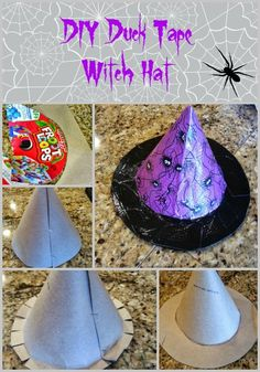 DIY Duck Tape Witch Hat for Halloween. I place mine atop my jack-o-lantern!