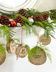 Create ornaments each year from the bottom inch of your Christmas tree, then hang the collection from the mantel. More holiday mantel decorating ideas: http://www.midwestliving.com/homes/seasonal-decorating/holiday-ideas/christmas-mantel-decorating-ideas/?page=8,0